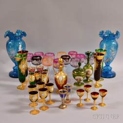Thirty-nine Colored Glass Items