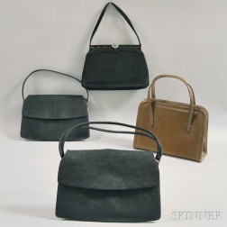 Four Leather and Woven Straw Handbags