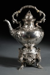 William Gale & Son Coin Silver Kettle on Stand