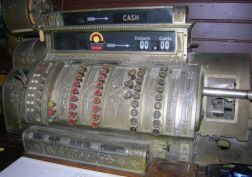 National Cash Register Company Nickel Plated Cast Metal and Oak Cash Register