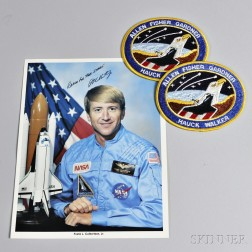 """Signed and Inscribed Photograph of Astronaut Frank L. Culbertson, and two """"Allen Fisher Gardner Hauck Walker"""" Space Shuttle Patches"""