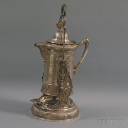 Aesthetic Movement Silver-plated Ice Water Pitcher on Stand