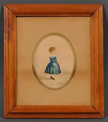 American School, 19th Century      Small Profile Portrait of a Child in Blue Holding a Buggy Whip and a White Rose.
