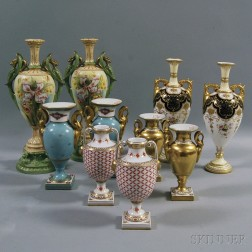 Five Pairs of Continental Porcelain Urn-form Vases