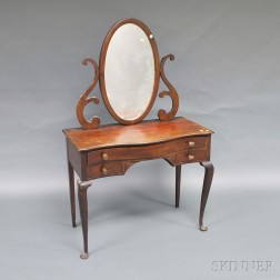 Queen Anne-style Mahogany Dressing Table with Mirror