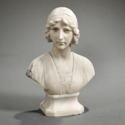 Italian School, Early 20th Century       Alabaster Bust of a Young Woman