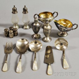 Fifteen Pieces of Weighted Sterling and Silver-plated Tableware Items.     Estimate $100-200