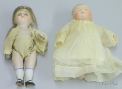 Two Small All Bisque Dolls