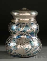 American Silver Overlay and Blue Favrile-style Glass Covered Jar