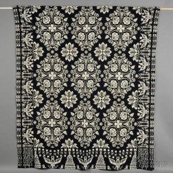 Navy and White Wool and Cotton Woven Coverlet