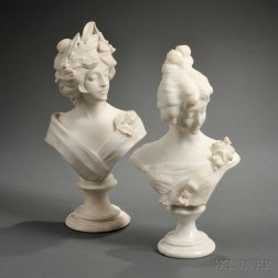 Italian School, Late 19th/Early 20th Century       Two Alabaster Busts of Art Nouveau Maidens