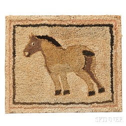 Small Hooked Rug with Horse