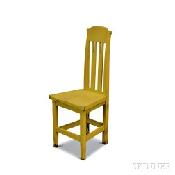 George C. Flint & Co. Arts and Crafts Yellow-painted Oak Chair