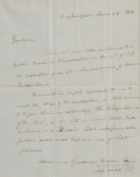 Webster, Daniel (1782-1852) Letter Signed, 28 June 1838.