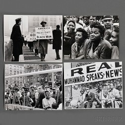 Malcolm X (1925-1965) Fourteen Photographs of Protesters and Audiences Taken by Robert Haggins (1922-2006)