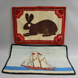 Two Pictorial Hooked Rugs