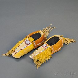 Pair of Kiowa Beaded Hide Man's Moccasins