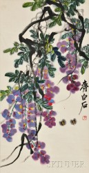 Hanging Scroll Depicting Wisteria