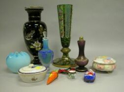 Group of Ten Decorated Glass, Enamel and Porcelain Items