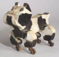 Painted Wooden Bulldog Pull-toy