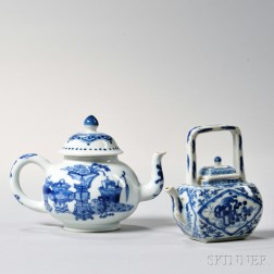 Two Small Blue and White Porcelain Covered Teapots