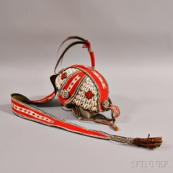 African Basketry Headdress with Cowrie Shells