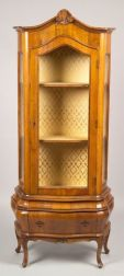 Italian Baroque-style Walnut Display Cabinet