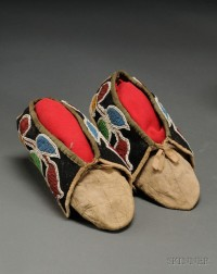 Prairie Beaded Cloth and Hide Moccasins