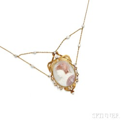Art Nouveau 14kt Gold, Shell Cameo, and Baroque Freshwater Pearl Necklace