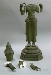 Painted Plaster Figure of a Buddha