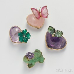 Four 18kt Gold Gem-set Brooches