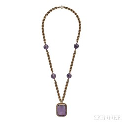 14kt Gold and Amethyst Cameo Cuvette Pendant Necklace