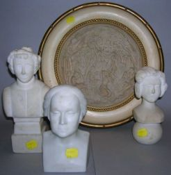 Group of Carvings, two folk-type white marble busts, composition molded bust of Washington and a framed cast-marble plaque of ...