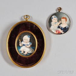 American or European School, Early 19th Century      Two Portrait Miniatures of Children.