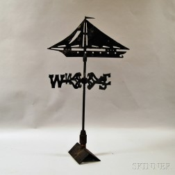 Sheet Iron Ship Weathervane and Directionals