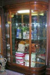 Edwardian Mahogany, Mahogany Veneer and Glass D-shaped Shop Display Cabinet