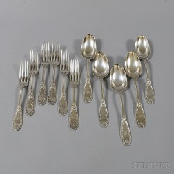 Set of Five Tiffany & Co. Sterling Silver Tablespoons and Six Dinner Forks
