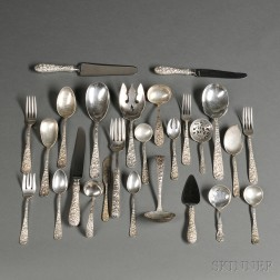 Assembled Stieff Rose   Pattern Sterling Silver Flatware Service