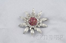 Platinum, Ruby, and Diamond Brooch, Tiffany & Co.