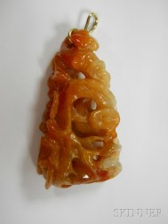 Carved Red Jade Pendant