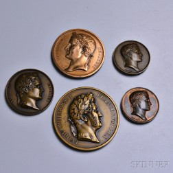 Five Napoleon Bronze and Copper Medal Restrikes
