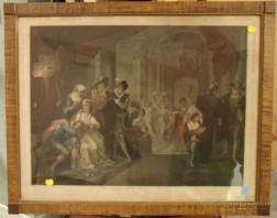 Tiger Maple Framed British Lithograph Shakspeare, Romeo and Juliet