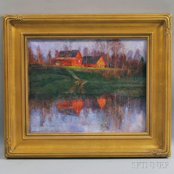 Anatoly Dverin (American, 20th/21st Century)      Farmhouse Reflection