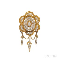 Victorian 18kt and Pearl Brooch