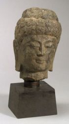 Carved Stone Head in the Image of Buddha