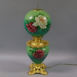 Late Victorian Hand-painted Glass Kerosene Lamp