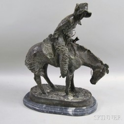 Bronze Horse and Rider Sculpture After Frederic Remington