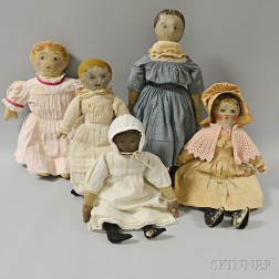 Four Painted Oilcloth Rag Dolls and a Painted Cloth Doll