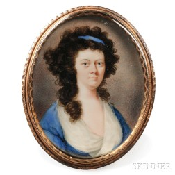 Attributed to John Ramage (act. Ireland, United States, and Canada, 1748-1802)      Portrait of a Curly-haired Woman in Blue.