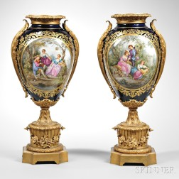 Pair of Gilt Bronze-mounted Sevres-style Porcelain Vases